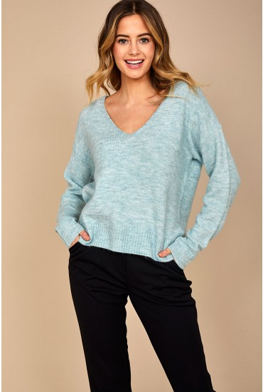 Drea V Neck Pullover in Mint