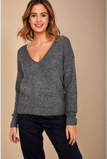 Drea V Neck Pullover in Dark Grey
