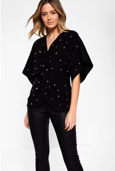 Ines V Neck Top With Stud Detail in Black