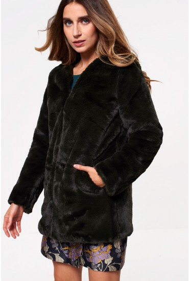 Valli Faux Fur Jacket in Peat