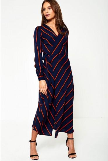 Vana Wrap Midi Dress in Navy Stripe