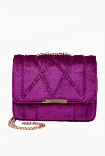 Lane Velvet Crossbody Bag in Purple