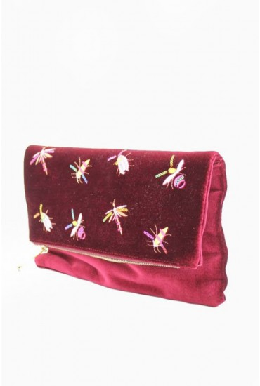 Camila Velvet Foldover Clutch Bag in Red