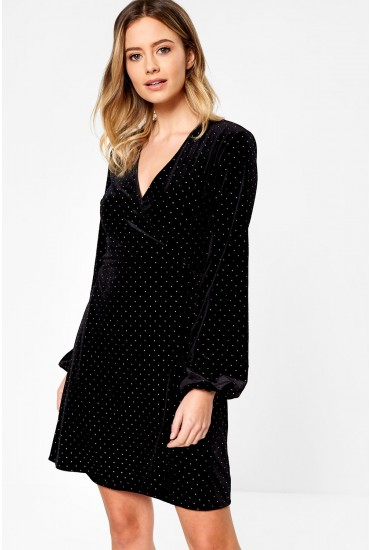 Viola Velvet Wrap Dress with Stud Detail in Black and Silver