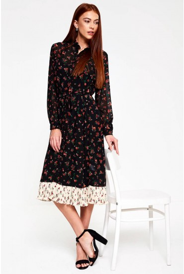 Venice Frill Midi Dress in Black Floral Print