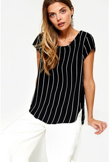 Vic Short Sleeve Top in Black Stripe