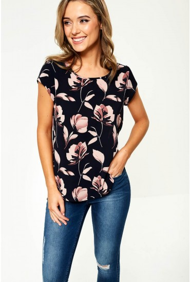 Vic Short Sleeve Top in Navy Floral