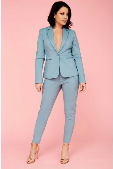 Victoria Long Sleeve Blazer in Duck Egg Blue
