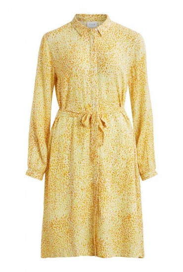 Mosaly Midi Dress in All Over Yellow Print