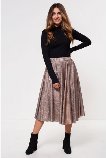 Lena Midi Skirt in Gold Sparkle