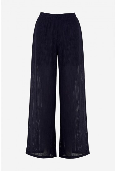 Viola Ribbed Trousers in Navy