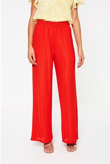 Viola Ribbed Trousers in Red