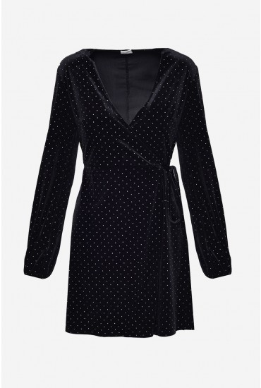 Viola Velvet Wrap Dress with Stud Detail in Black