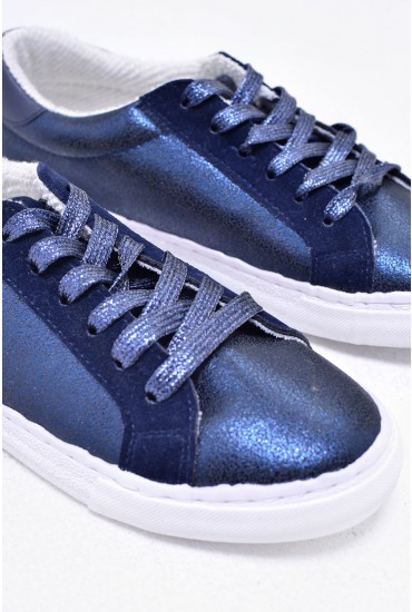 Spencer Lace Up Trainers in Navy Metallic