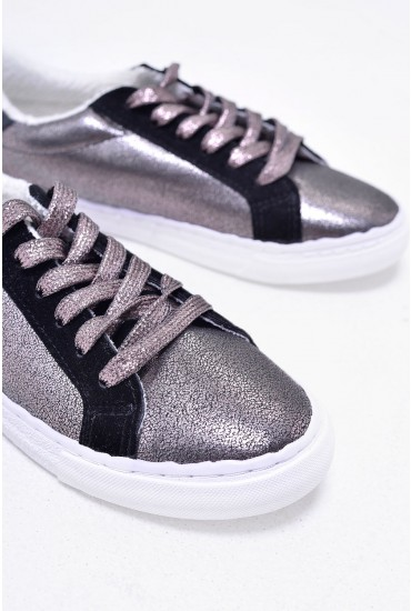 Spencer Lace Up Trainers in Silver Metallic