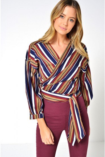 Jules Striped Wrap Shirt in Burgundy
