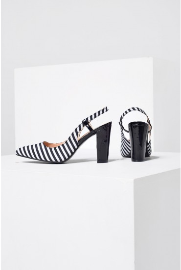 Tracey Striped Sling Back in Black and White