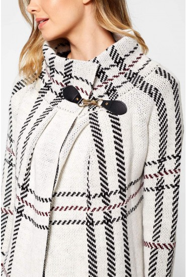 Erika Waterfall Cardigan in Cream Check Print