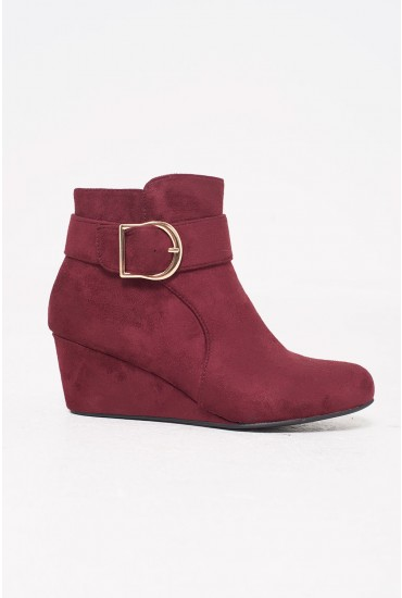 Winter Wedge Ankle Boots in Wine