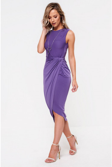 Kate Twist Front Jersey Dress in Purple