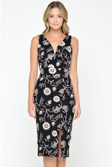 Janette Embroidered Plunge Neck Dress in Black