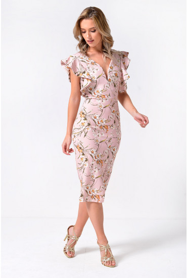 Hudson Plunge Midi Dress with Frill Sleeve Detail in Blush