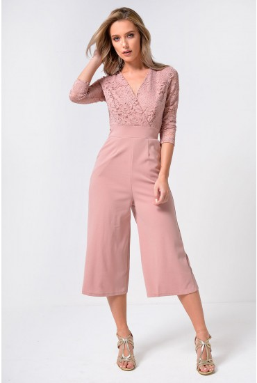 Madrid Plunge Culotte Jumpsuit with Lace Detail in Blush