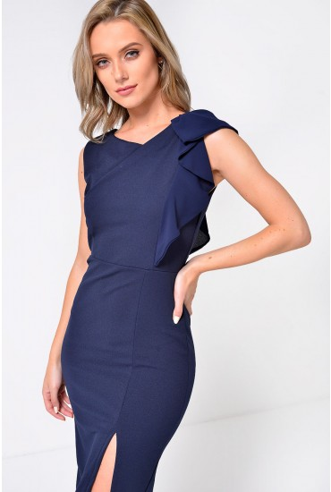 Savannah Midi Dress with Ruffle Sleeve Detail in Navy