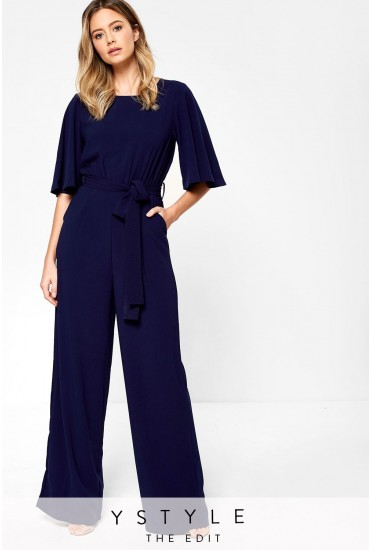 Jacklyn Wide Leg Occasion Jumpsuit in Navy