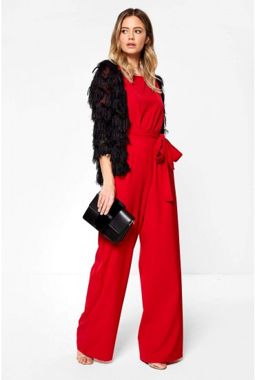 Jacklyn Wide Leg Occasion Jumpsuit in Red