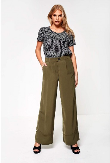 Bella Wide Leg Trousers in Dark Olive