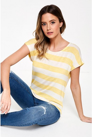 Wide Stripe T-Shirt in Yellow