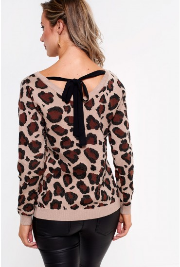 Wild Bow Tie Jumper in Animal Print