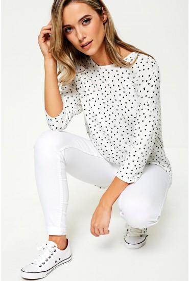Winner Polka Dot Top in White