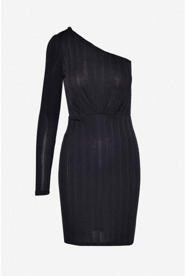 Wiona One Shoulder Short Glitter Dress in Black
