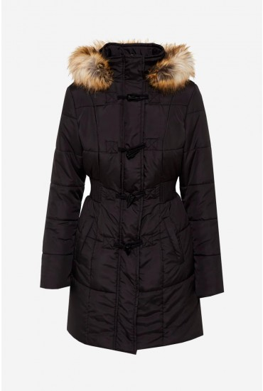 Pearl Jacket With Faux Fur Hood Trim in Black