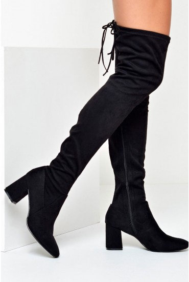 Wendy Over The Knee Sock Boots in Black Suede