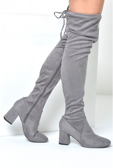 Wendy Over The Knee Sock Boots in Grey Suede