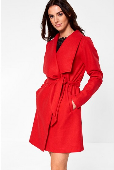 Cooley Wrap Coat in Red
