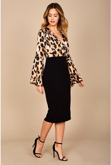 Mya Wrap Front Midi Dress in Leopard Print