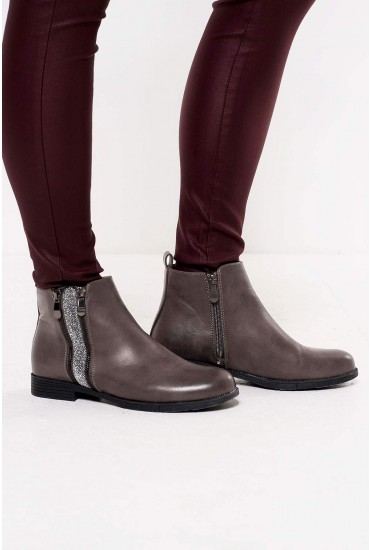 Emery Zip Ankle Boots in Grey