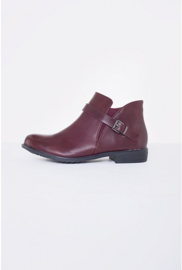 Marlow Buckle Flat Ankle Boot in Wine