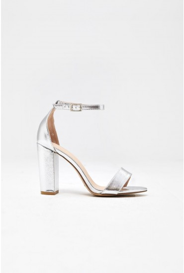 Elena Block Heel Sandals in Metallic Silver