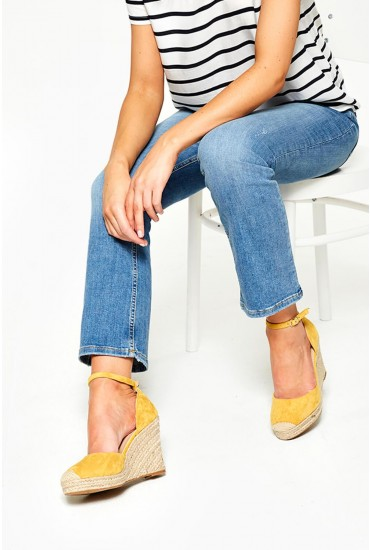 Jay Espadrille Wedges in Yellow Suede