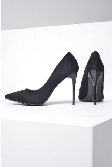 Sarah Suede Court Shoes in Black