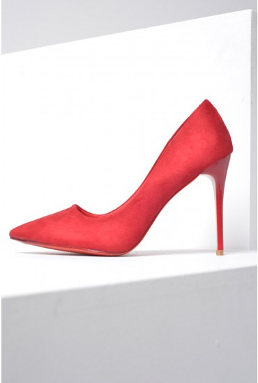 Sarah Suede Court Shoes in Red