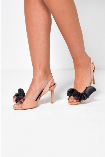 True Bow Heeled Sandals in Blush