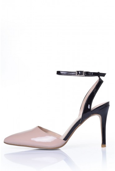 Julissa Sling Back Heels in Nude and Black