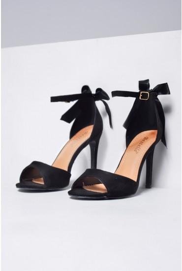 Lana Bow Tie Heeled Sandals in Black