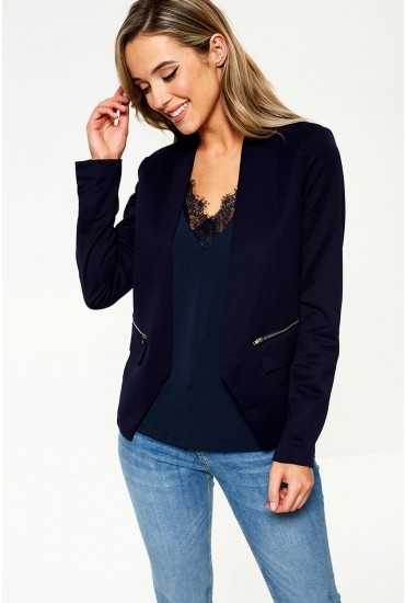 Maura Zip Blazer in Navy